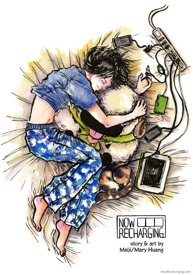 A sleeping young man or woman - gender not discernible - with dark shoulder-length hair is sound asleep, a smile on their face. They're wearing a blue shirt and pyjama bottoms with clouds and hugging a giant stuffed sheep. The ring finger on their left hand is connected to a cable that is plugged into a power bar. Several other devices are also connected to the power bar: phones, a tablet, and a curled up robot that looks like a calico cat.