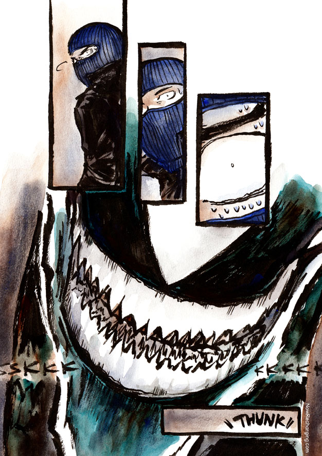 The thief turns to meet a giant mouth full of very sharp teeth. He collapses to the floor.