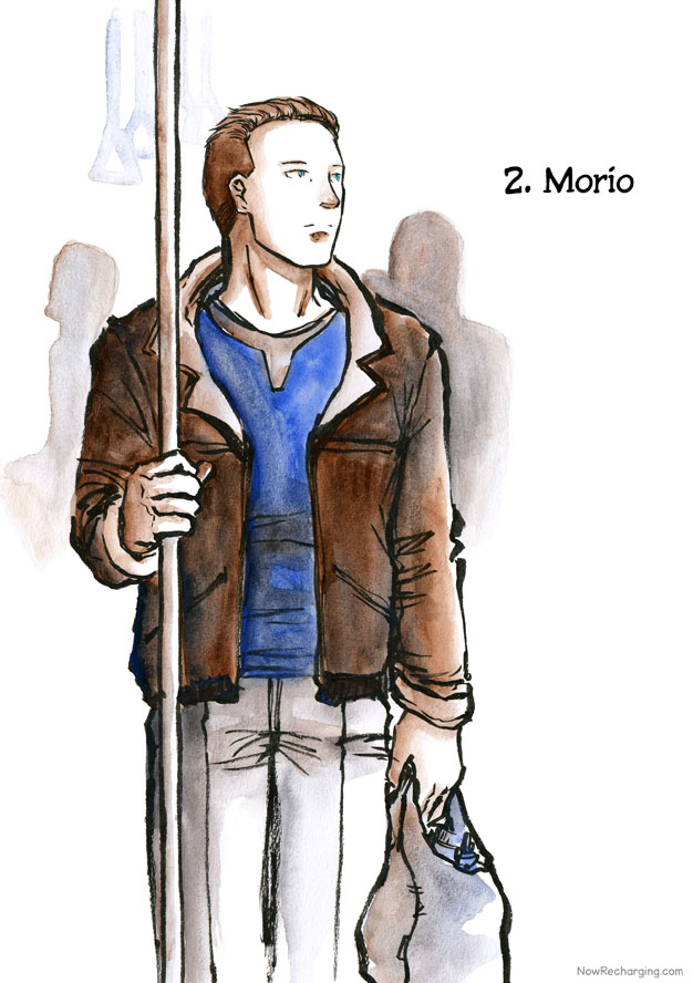 The man from before, this time wearing a brown jacket over a blue sweater and carrying a grocery bag, holds on to a pole in a public transit vehicle.