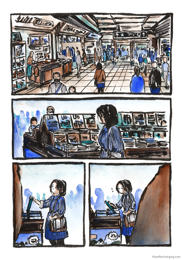 A bustling underground shopping complex connected to the city's transit system. A woman with a loose ponytail in a striped blue dress with large purse browses a display of books. Out of the corner of her eye, she notices something.