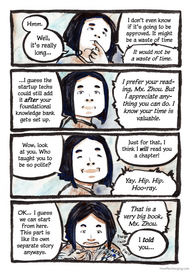 Mx. Zhou and the unseen robot continue their conversation.