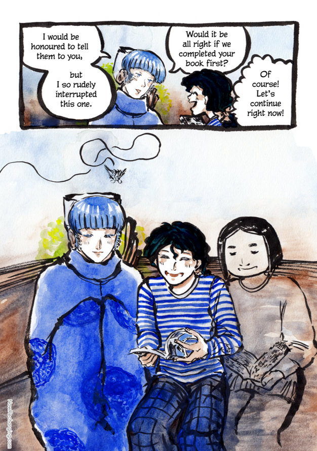 Shiny and Emmie continue reading the comic, with ghost-like memories accompanying them: Mister Bug flying above Shiny and Mx. Zhou sitting next to Emmie and reading a book.